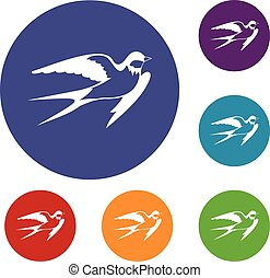 Barn swallow icons set in flat circle reb, blue and green...