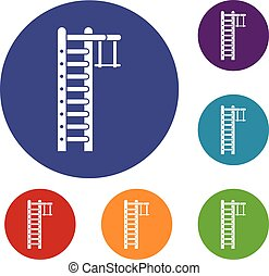 Swedish ladder icons set in flat circle reb, blue and green...