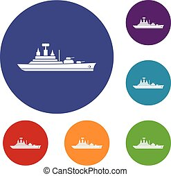 Warship icons set in flat circle reb, blue and green color...
