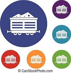 Train waggon with coal icons set in flat circle reb, blue...