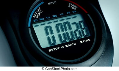 Stopwatch Counts To 10 Closeup - Closeup of a stopwatch on...