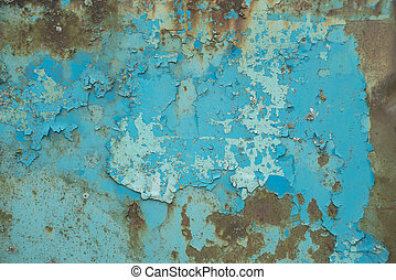Old blue metal surface - Multicolored background: old rusty...