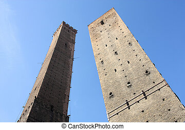 Bologna - Famous two towers of Bologna - medieval brick...