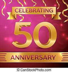 Fifty Years Anniversary Celebration Design. Confetti and golden ribbon on pink background. Colorful Vector template elements for your birthday party. Anniversary ribbon