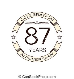 Realistic eighty seven years anniversary celebration logo...