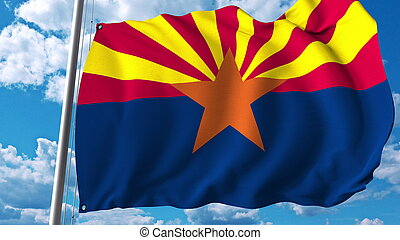 Waving flag of Arizona. 3D rendering - Realistic waving flag...