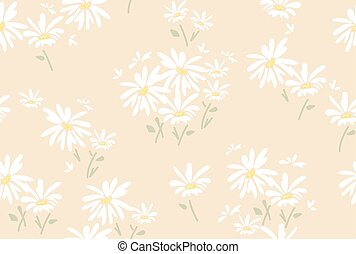 vector seamless floral pattern with  chamomile flowers