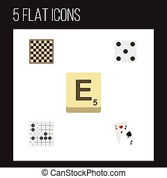 Flat Icon Games Set Of Chess Table, Ace, Mahjong And Other...