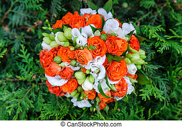 Wedding bouquet of red and white roses