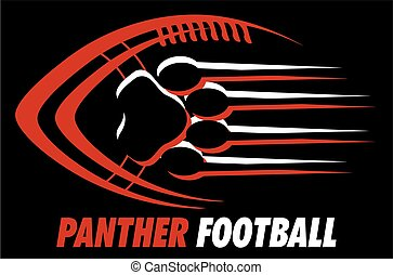 panther football team design with paw print for school,...