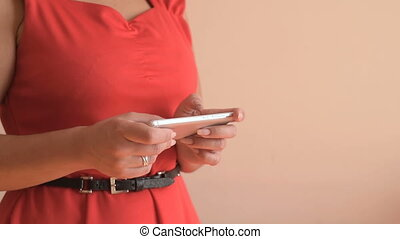 Woman typing text on smartphone - Woman using smartphone....