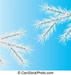 Gray branch of a pine. Vector
