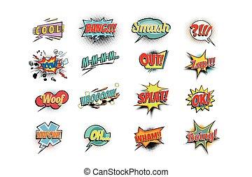 Set collection comic phrases words. cool bang smash boom mmm...