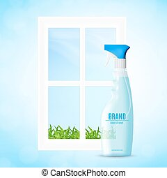 Window cleaning concept - Bottle of the liquid for washing...