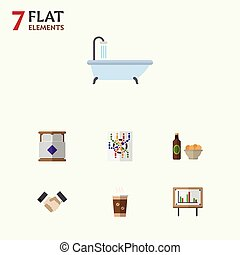 Flat Icon Lifestyle Set Of Beer With Chips, Cappuccino, Whiteboard And Other Vector Objects. Also Includes Whiteboard, Subway, Presentation Elements.