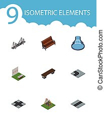 Isometric City Set Of Intersection, Bridge, Bench And Other...