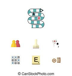 Flat Icon Play Set Of Ace, X&O, Mahjong And Other Vector Objects. Also Includes Play, Cards, Pawn Elements.