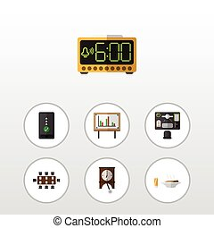 Flat Icon Life Set Of Boardroom, Electric Alarm, Cellphone And Other Vector Objects. Also Includes Lunch, Pendulum, Presentation Elements.
