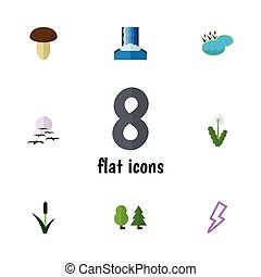 Flat Icon Nature Set Of Cascade, Forest, Floral And Other Vector Objects. Also Includes Thunder, Floral, Pond Elements.