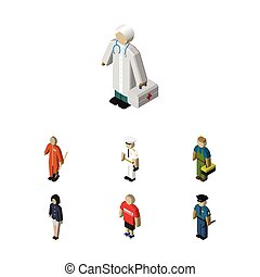 Isometric Person Set Of Officer, Cleaner, Medic And Other...