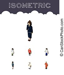 Isometric People Set Of Businesswoman, Policewoman, Guy And...