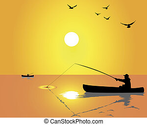 fishermen from a boat - Silhouettes of fishermen from a boat...