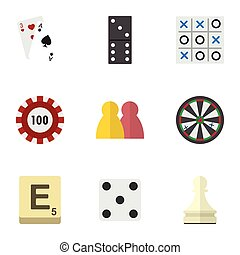 Flat Icon Entertainment Set Of Ace, Mahjong, Bones Game And...