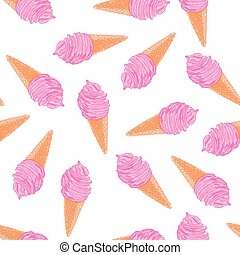 Cool summer seamless pattern with sketch berry ice cream cones.