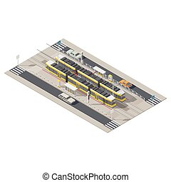 Tram station located in the middle of the street isometric icon set