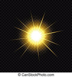 Golden star burst. Bright magic glow sparkle