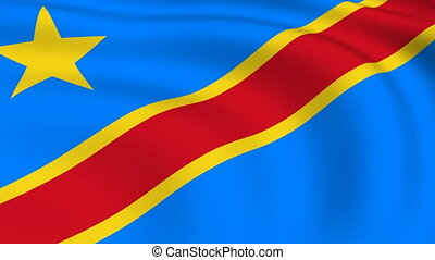 Flying Flag of Congo Democratic Republic | LOOPED |