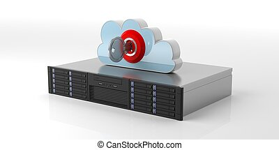 Computer storage server and cloud with lock on white background. 3d illustration