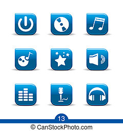 music icons no13smooth series - Set of nine music web icons...