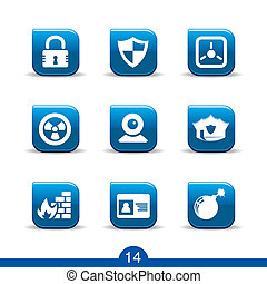 security icons no14smooth series - Set of nine security web...