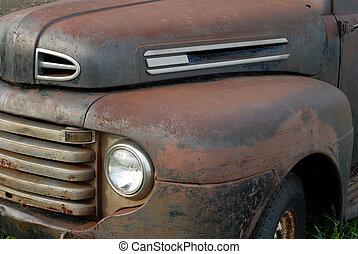 arrugginito, vendemmia, su, camion, cogliere, fuori, lato,...