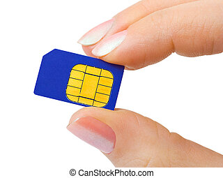 Hand and phone sim card isolated on white background