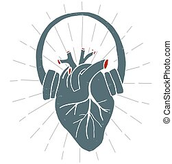 Heart with headphones in vintage style. Vector illustration. Pattern T-Shirt. Print. Poster.