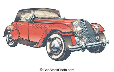 Vector vintage illustration of red retro car in engraving style