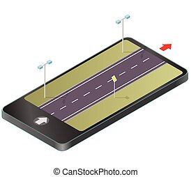 Isometric road in mobile phone. Roadway transportation in...