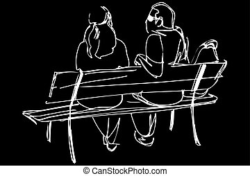 sketch of a young couple sitting on a bench