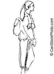 sketch of a young blonde with a backpack