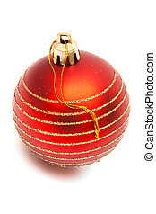 red ball - Christmas red ball on white background