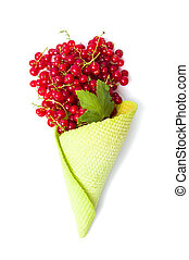 Currant fruit in an ice cream cone on white - Red currant...
