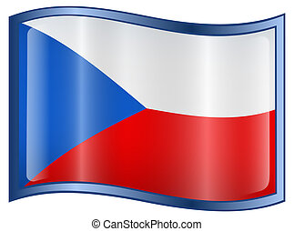 Czech Flag icon - Czech Flag icon, isolated on white...