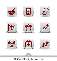 Medical icons no2smooth series - Set of nine medical web...