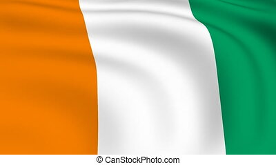 Flying Flag of Cote d'Ivoire | LOOPED |