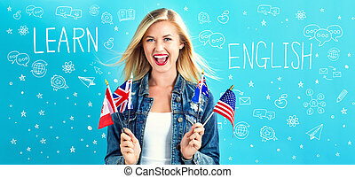 Learn English text with young woman with flags of English...