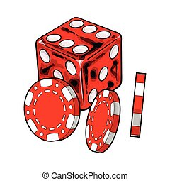 Shiny red dice and gambling chips, casino attributes, vector...
