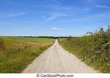 yorkshire wolds farm road - a newly surfaced farm road in...