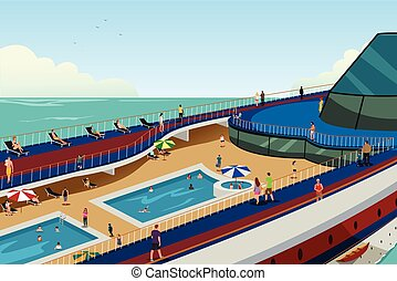 People on Cruise Vacation - A vector illustration of People...
